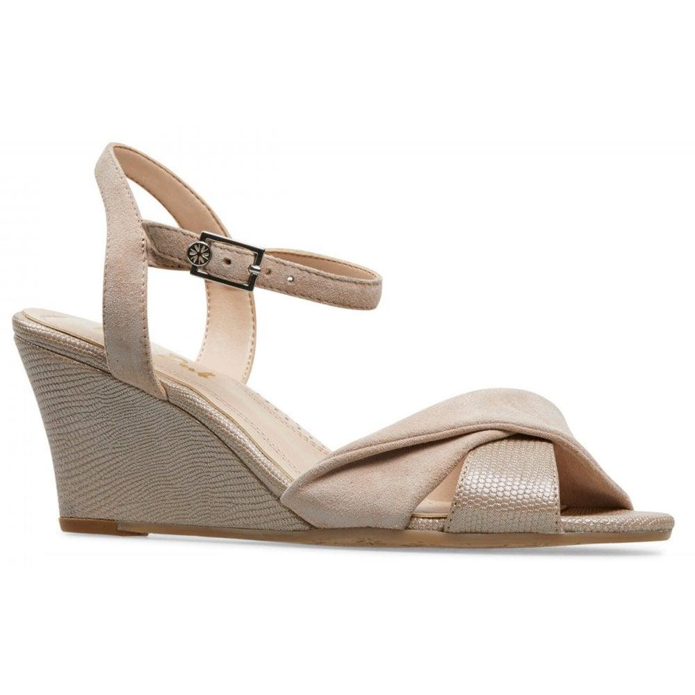 a7a3e676487a6 Van Dal Van Dal Womens Beauworth Sesame Suede/Lizard Print Slingback Wedge  Heeled Sandals 3002830