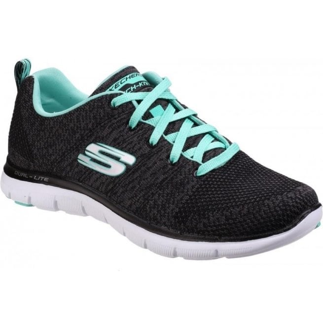Skechers Womens BlackAqua Flex Appeal 2.0 High Energy Shoes SK12756