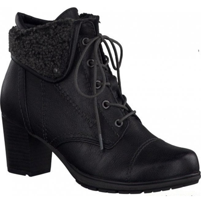 5c674d1bbbd Womens Black Lace Up Ankle Boots 8-8-26161-25-001