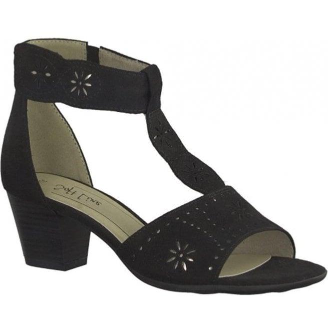 Black T-Bar Closed Heel Sandals