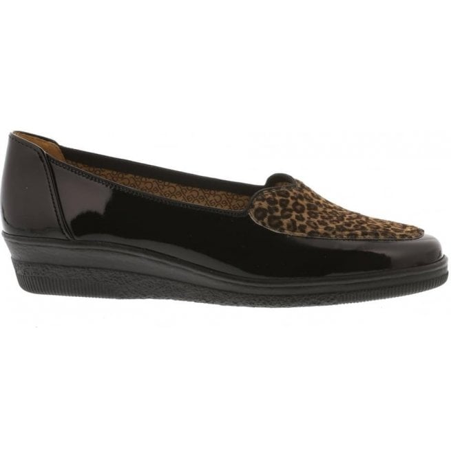 6d76fa5b154 Gabor Gabor Womens Blanche Black Patent Leopard Print Loafers 404.87