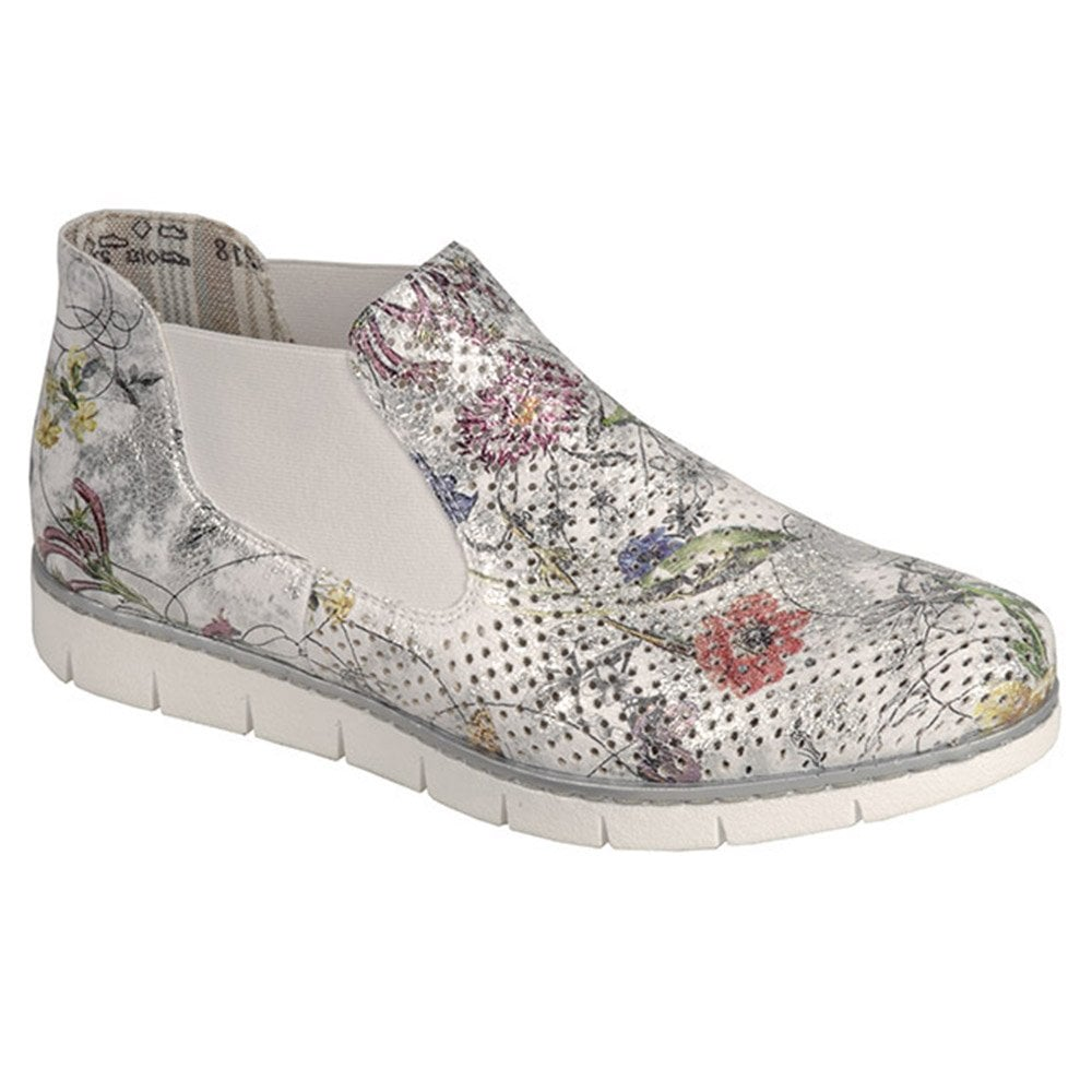 moderate Kosten große Auswahl Neupreis Womens Bouquet White Floral Multi Elasticated Slip On Ankle Boots M1397-90