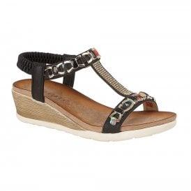 b321e388cb Womens Brizia Black Elasticated T-Bar Wedge Heeled Sandals L489A