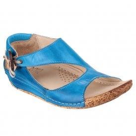 2b74b45a0c9b5 Womens Cartier Cobalt Leather Elasticated Button Sandals