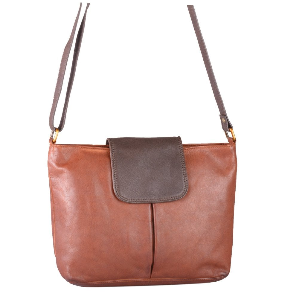Bolla Bags Womens Cherry Cognac Brown Tabbed Leather Shoulder ... b97c1dd82e