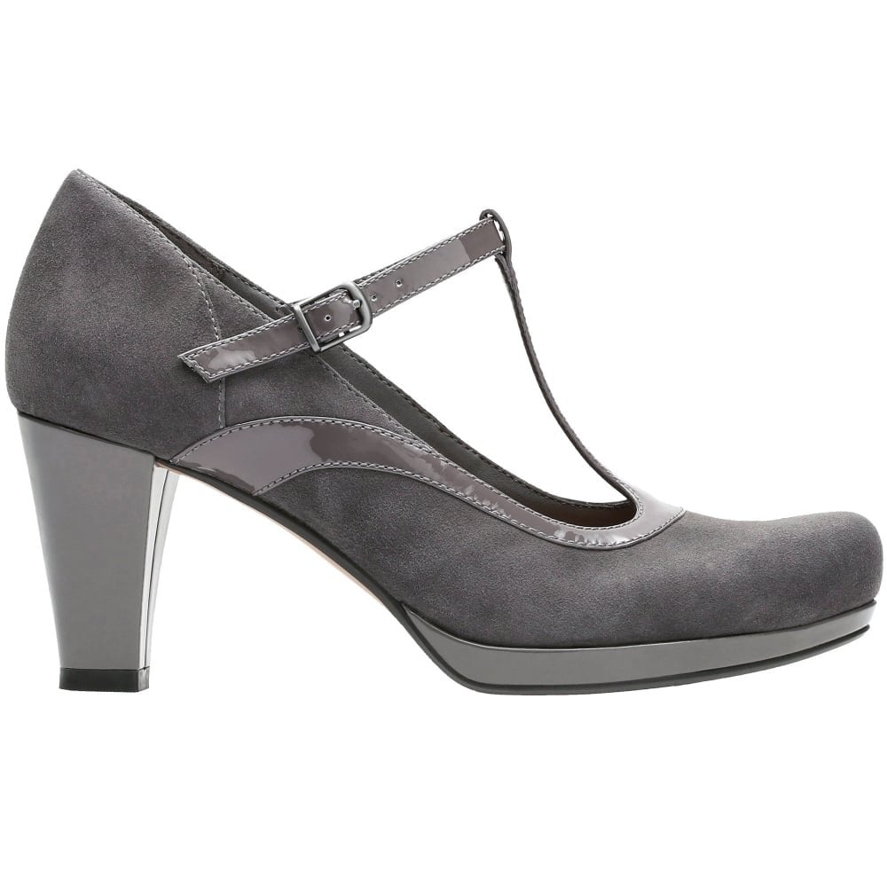 On Clearance buying now shoes for cheap Womens Chorus Pitch Dark Grey Leather/Suede Combi T-Bar Shoes 26129435