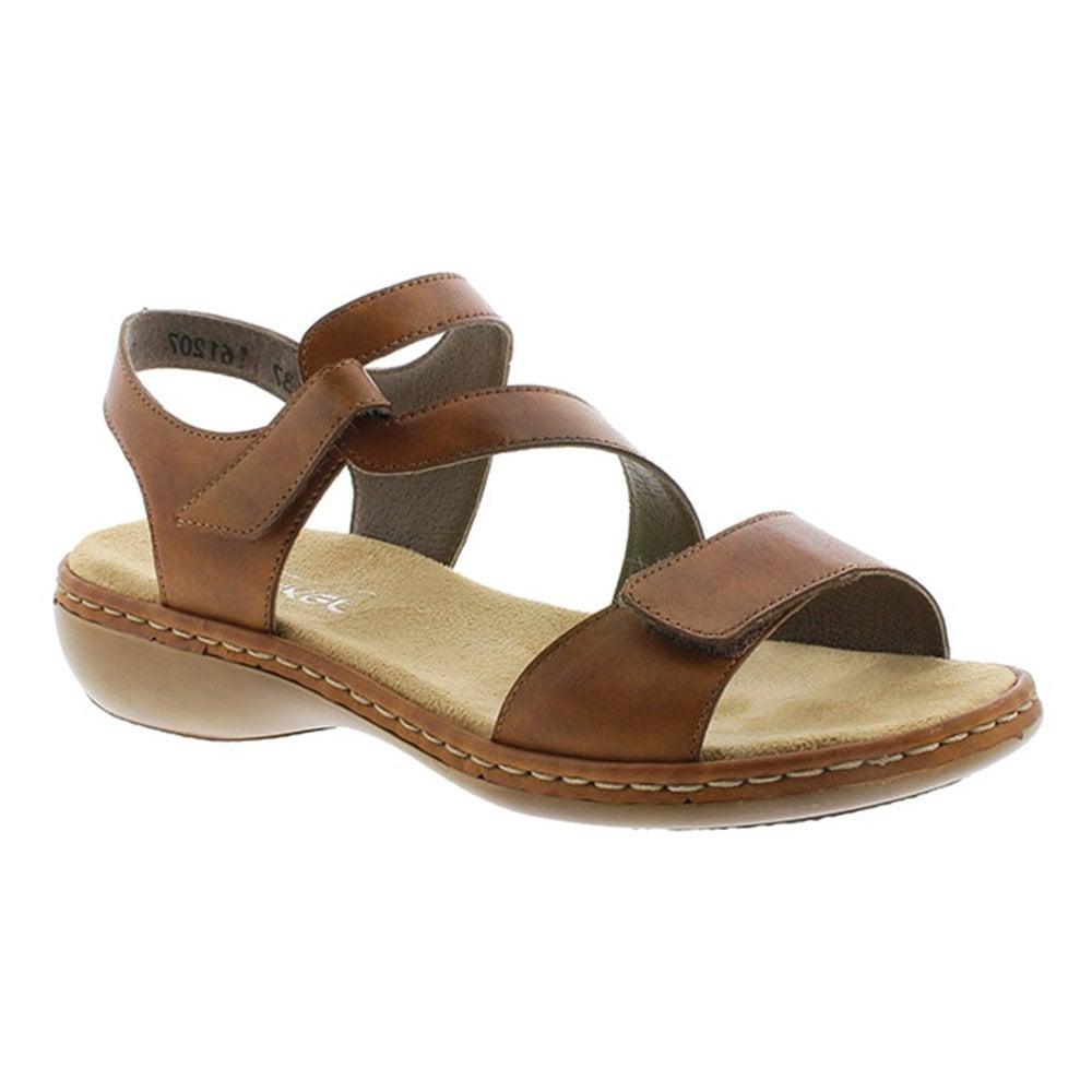 Rieker Womens Clarino Brown Leather Velcro Sandals 659C7 24