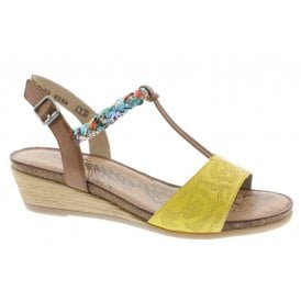 c0629b0b Womens Cristallino Yellow/Brown Multi T-Bar Wedge Heeled Sandals R4459-68 ·  Remonte ...
