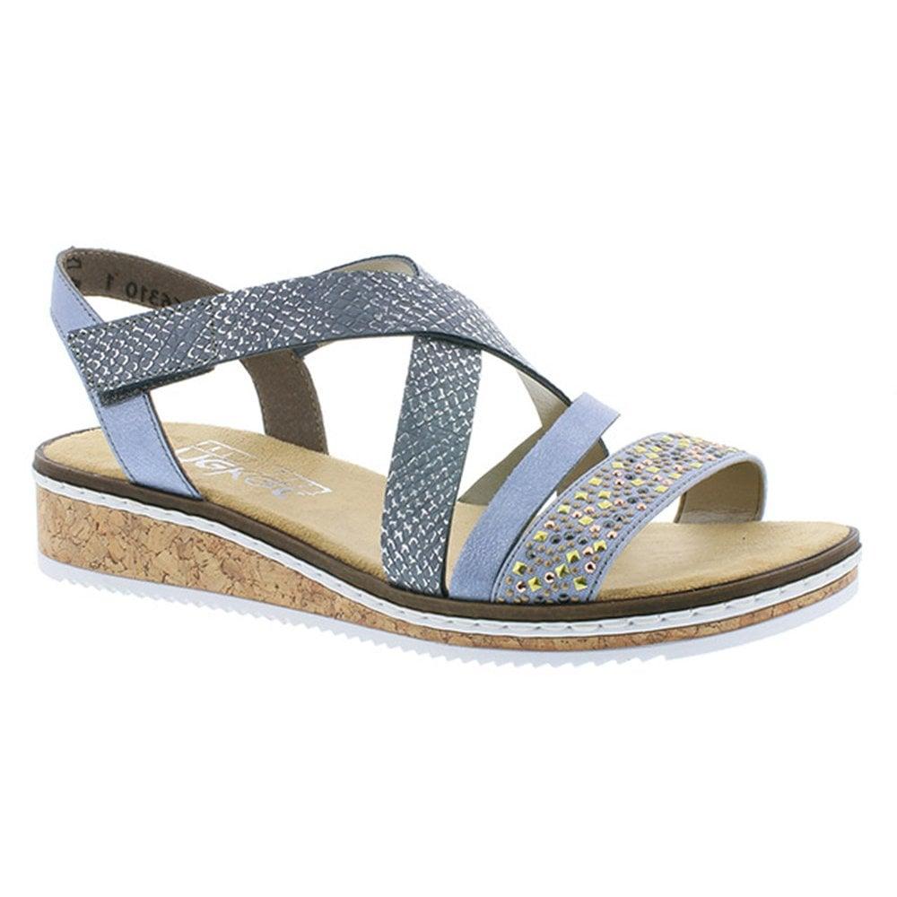 b668c19f9e8a Rieker Rieker Womens Dehlistretch Blue Multi Crossover Sandals V3663-10