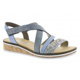 a93da9c346220 Womens Dehlistretch Blue Multi Crossover Sandals V3663-10 · Rieker ...