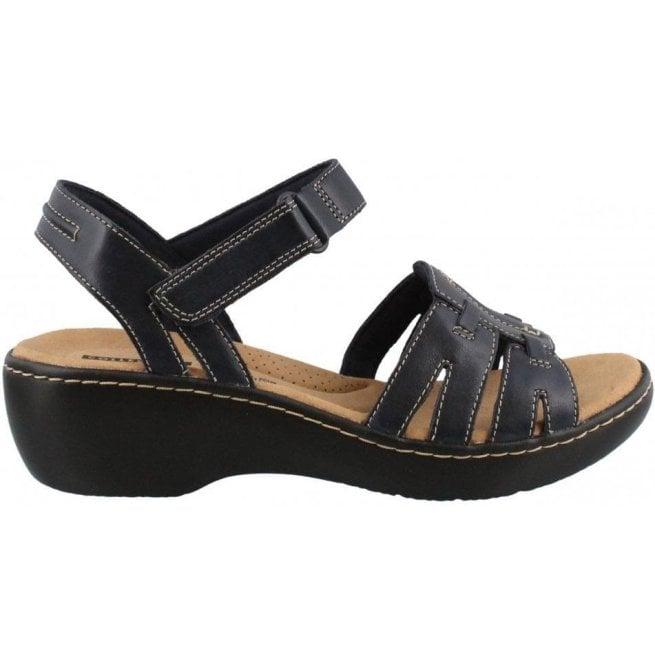 Clarks Delana Nila Navy Leather Sandals