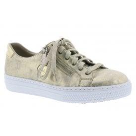 Womens Delight Gold Metallic (Beige) Casual Zip Shoes L59L8-62 844fa9639