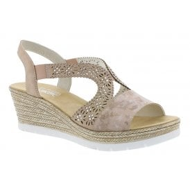 550f80748abe6 Womens Dipinto Rosa Wedge Heeled Sandals 61916-31 · Rieker ...