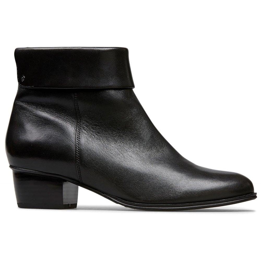 Van Dal Dove Black Leather Zip-Up Ankle