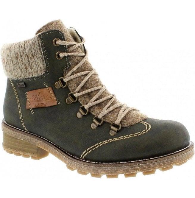 8cdce9dec98 Rieker Rieker Womens Eagle Green Leather D-Ring Waterproof Ankle Boots  Z0444-54