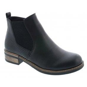 2969c2e7ef5bf Rieker Womens Luxor Black Leather Waterproof Zip Ankle Boots 44278-00