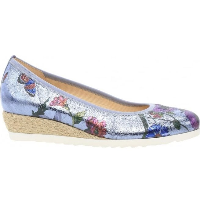 29960f994 Gabor Gabor Womens Epworth Blue Floral Slip On Wedge Shoes 641.83