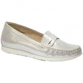 3915b9a04d2 Womens Ettiene Off-White Glitter Leather Slip On Moccasins 9-24251-28 116 ·  Caprice ...