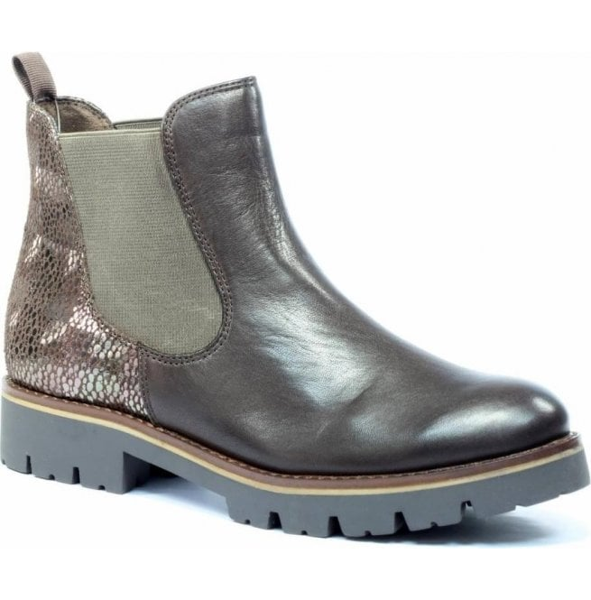 10f13aaa291d6 Womens Faria Dark Brown Combi Leather Chelsea Boots 9-25406-29 329