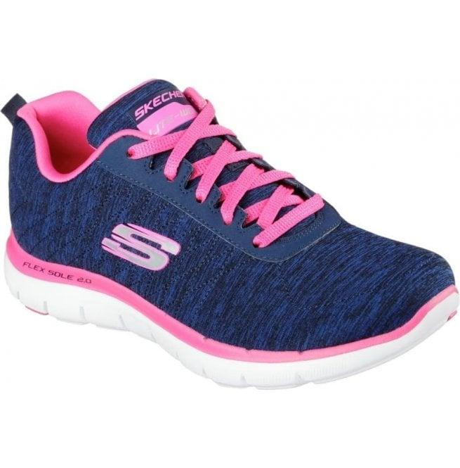 7b36222697b0 Skechers Womens Flex Appeal 2.0 Navy Pink Trainers 12753