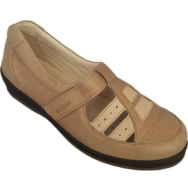 Sandpiper Sandpiper Womens Foxton Beige Leather Extra Wide Shoes 9b5698d1d