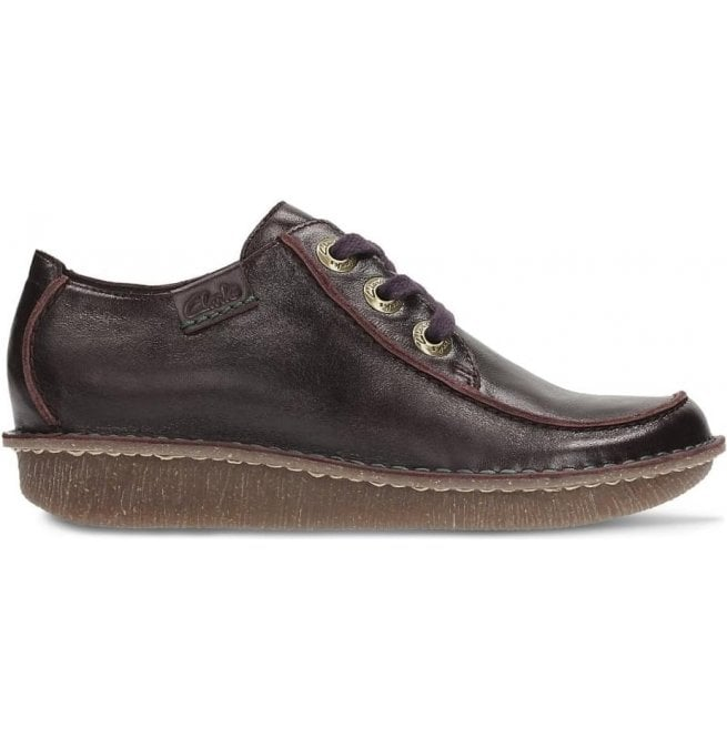 Clarks Womens Funny Dream Aubergine Leather Casual Shoes