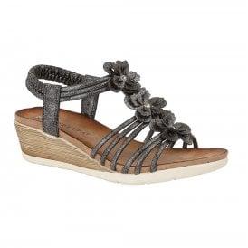 ef83e2cc1d Womens Gerina Metallic Pewter Elasticated Wedge Heeled Sandals L319F.  Cipriata ...