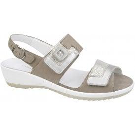 21f6b5d28032 Womens Ginger Denver Memphis Tago Beige Taupe Leather Velcro Sandals 225006  305 970