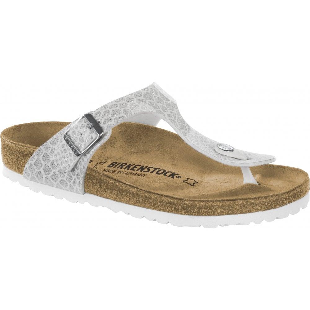 Birkenstock Birkenstock Womens Gizeh BF Magic Snake White Toe Post Buckle  Sandals 1009115 1d4cb26ced
