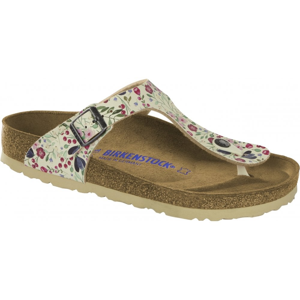 32c128448 Birkenstock Birkenstock Womens Gizeh Meadow Flowers Beige Toe Post Buckle  Sandals 1012770