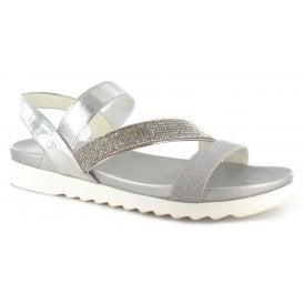 c53844167 Womens Gloria Silver Crossover Slip-On Sandals