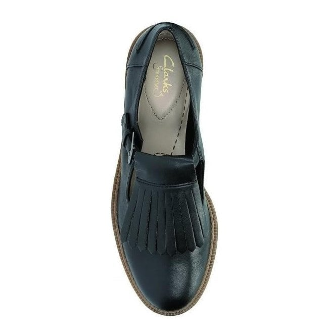 Clarks Griffin Mia Black Leather Casual
