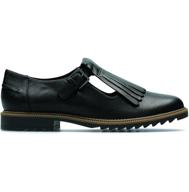 2130f64ae376b Clarks Womens Griffin Mia Black Leather Casual Shoes