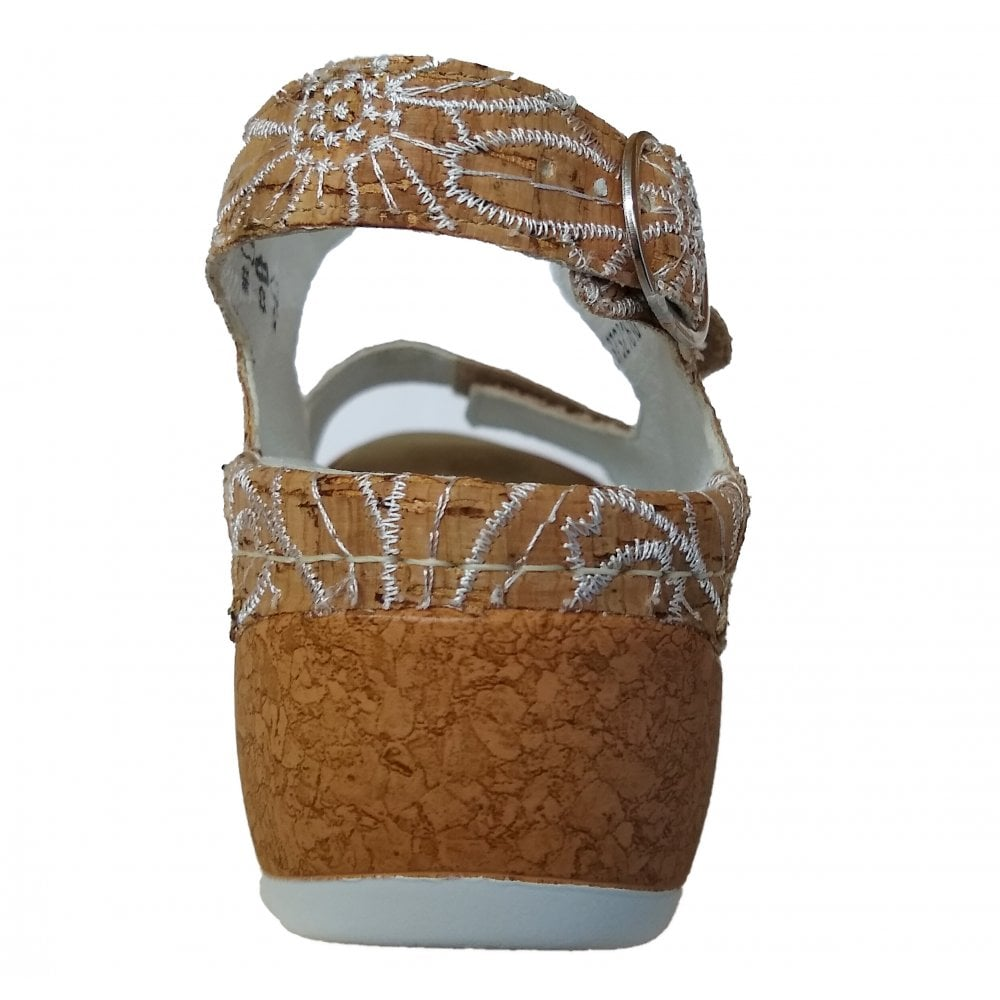 289c1934 Waldlaufer Womens Hanila Cork/White Strap Over Sandals 306002 197 150