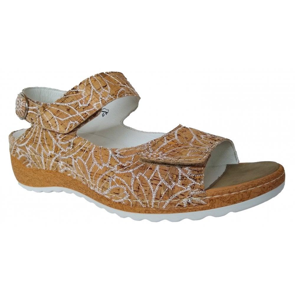 d8785c52 Waldlaufer Waldlaufer Womens Hanila Cork/White Strap Over Sandals 306002  197 150