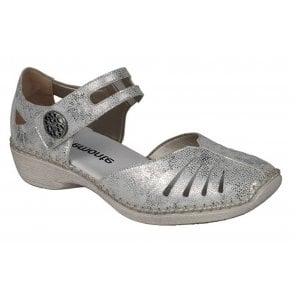 19a090dffc8d3 Womens Hawai Metallic White/Silver Leather Casual Mary Jane Bar Shoes  D1636-81