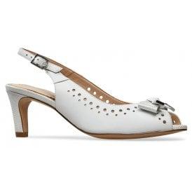 d23a4513bd Womens Hawkhurst White Lizard Print Slingback Heeled Sandals 3027020 New  In. Van Dal ...