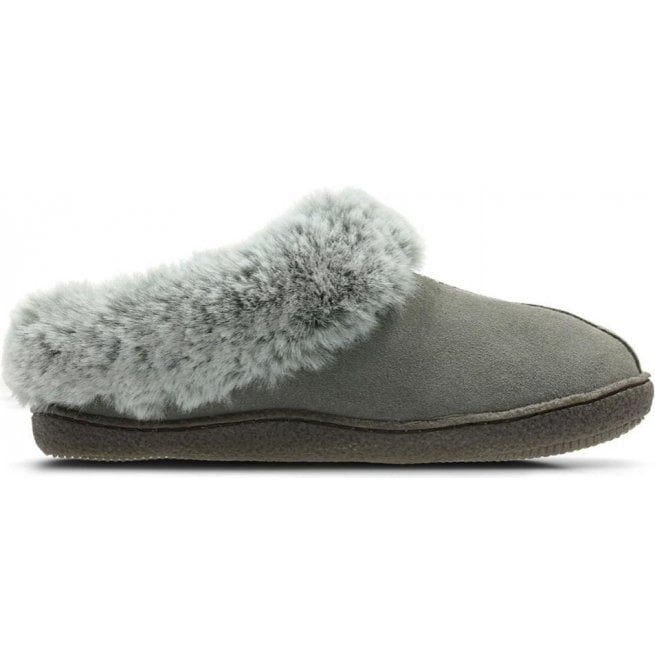 Clarks Home Classic Grey Suede Fur
