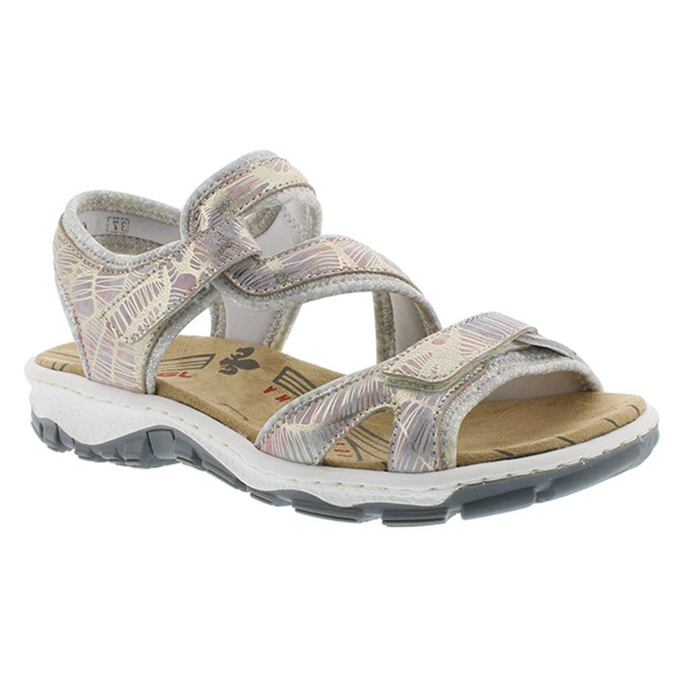 Sandals Velcro Strap 90 Womens 68869 Illinois Metallic Multifloral kZiOuTPX