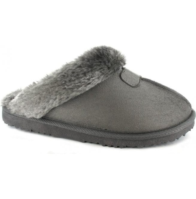 16c9219b4b590 Ella Jill Grey Womens Fur Lined Memory Foam Slippers