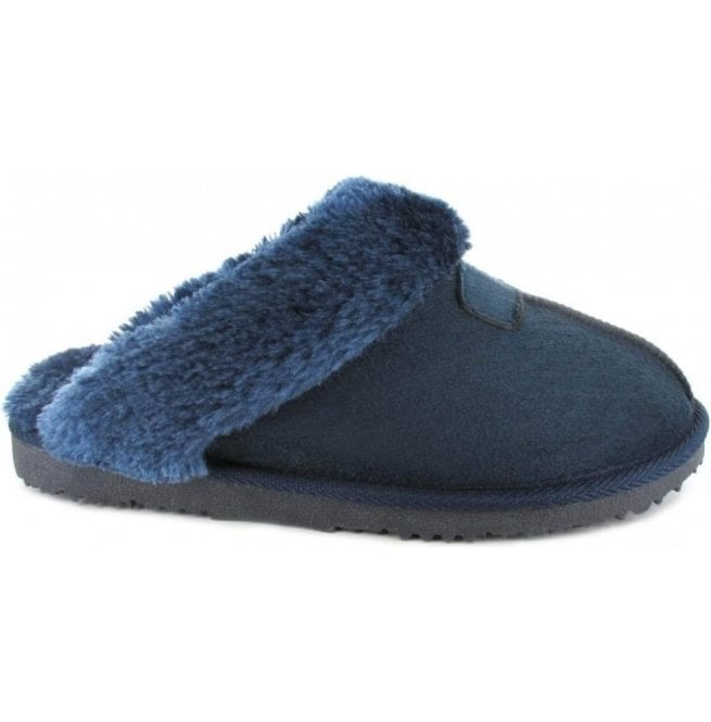 db6a3c30883fe Ella Ella Womens Jill Navy Fur Lined Memory Foam Slippers