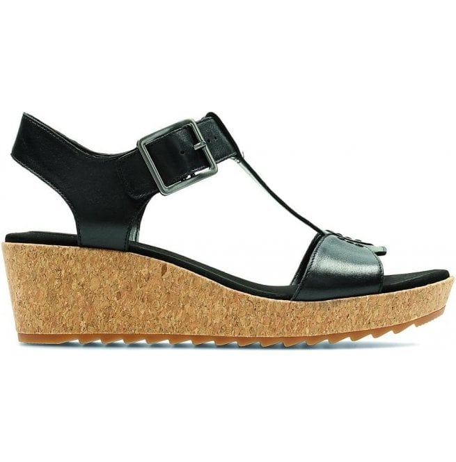 5b5676ccda87 Clarks Womens Kamara Kiki Black Leather T-Bar Sandals