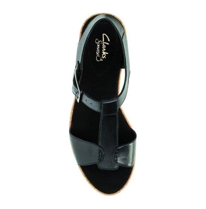 2ad44285f9d9 Clarks Womens Kamara Kiki Black Leather T-Bar Sandals