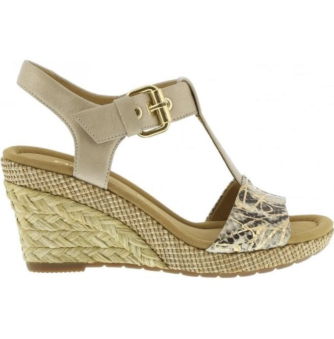 f3b1fc0d486 Gabor Gabor Womens Karen Beige Powder T-Bar Wedge Heel Sandals 824.21