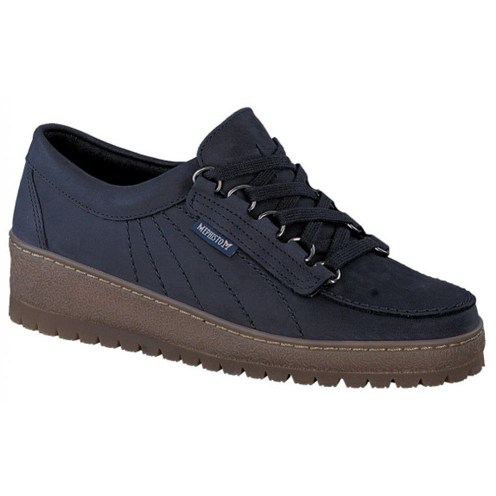 8b4b4bb4ee Mephisto Mephisto Womens Lady Maya Blue Nubuck Leather Lace-Up Shoes  855-5125006