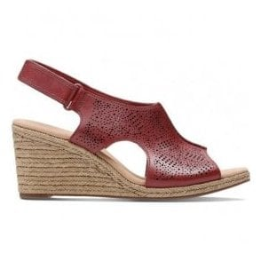 51e5249811a Womens Lafley Rosen Red Leather Wedge Sandals 26133774 · Clarks ...