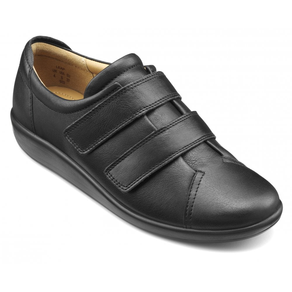 Extra Wide Black Leather Velcro Shoes