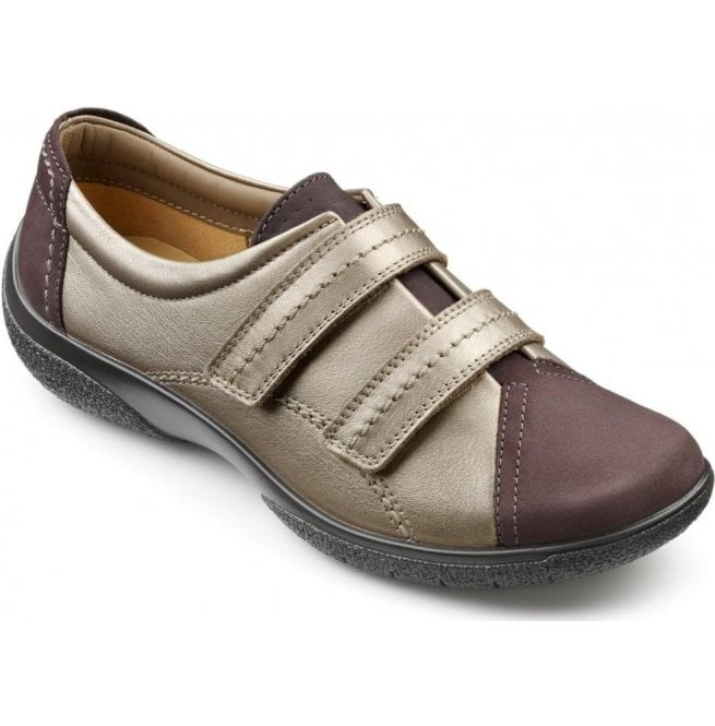 e68027b5 Hotter Hotter Womens Leap Extra Wide Gunmetal/Pale Bronze Leather/Nubuck Velcro  Shoes