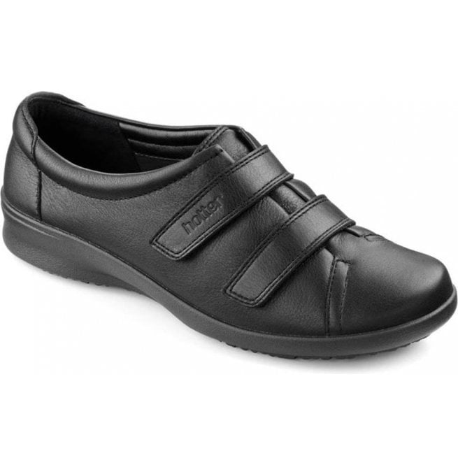 4865faa1 Hotter Hotter Womens Leap Extra Wide Jet Black Leather Velcro Shoes