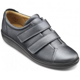 e83a3b96da1 Womens Leap Extra Wide Midnight Metallic Leather Velcro Shoes